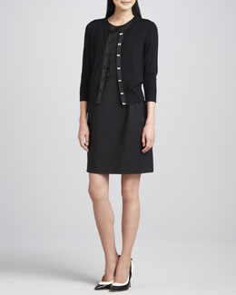 kate spade new york afton bow-button cardigan & nicolette bow-waist dress