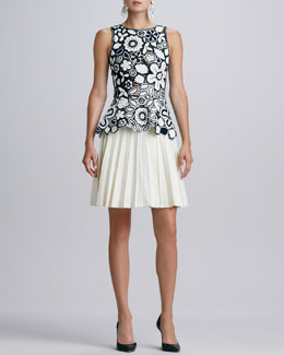 Oscar de la Renta Hand-Crocheted Floral Peplum Blouse & Pleated Stretch-Wool A-Line Skirt