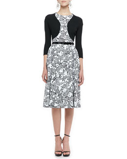 Oscar de la Renta Cashmere-Silk Shrug, Plaid Floral Dress & Patent Skinny Belt