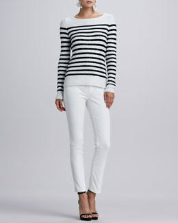 Oscar de la Renta Striped Sequined Long-Sleeve Sweater & Five-Pocket Skinny Jeans, White