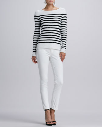 Striped Sequined Long-Sleeve Sweater & Five-Pocket Skinny Jeans, White