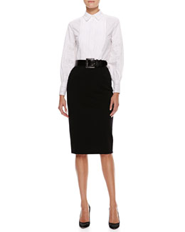 Oscar de la Renta Pleated-Bib Blouse, High-Waist Pencil Skirt & Thick Alligator Belt
