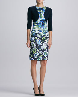 Oscar de la Renta Cashmere-Silk Bolero & Sleeveless Mixed Floral-Print Dress