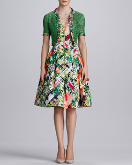 Oscar de la Renta Cropped Crochet Cardigan & Floral Plaid A-Line Dress