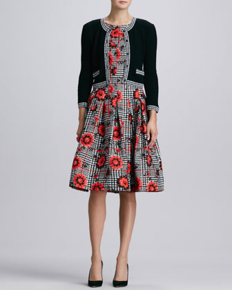 Cloque-Trim Knit Jacket & Floral-Houndstooth Cloque Dress