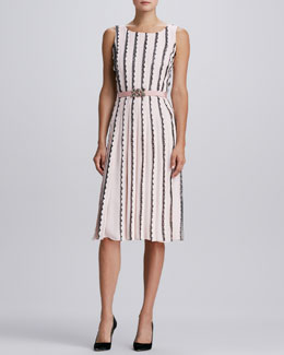 Oscar de la Renta Vertical-Scallop Knit Dress & Jewel-Buckle Faille Belt