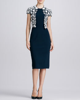 Oscar de la Renta Hand-Crocheted Floral Jacket & Sleeveless Knit Sheath Dress