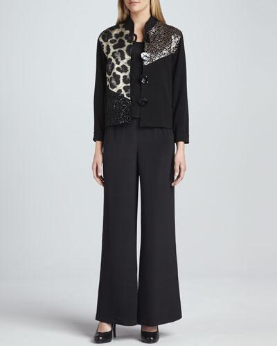 Caroline Rose Gold Rush Combo Jacket, Basic Silk Crepe Tank & Wide-Leg Silk Crepe Pants