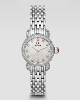MICHELE CSX-26 Pave Diamond Watch Head & 12mm Bracelet Strap