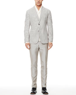 Alexander McQueen Mini-Skull-Print Blazer, Shawl-Collar Cashmere Sweater & Cotton Suit Trousers