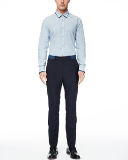 Alexander McQueen Double-Collar Skull-Print Shirt & Trousers with Belt Detail