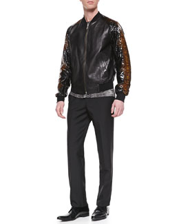 Alexander McQueen Leather/Python Bomber Jacket, Skull/Snake Printed Shirt & Wool/Mohair Dress Pants
