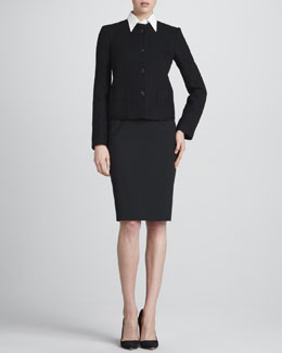 Giorgio Armani Tortoise-Button Jacket, Silk Button-Down Blouse & Straight Wool Skirt