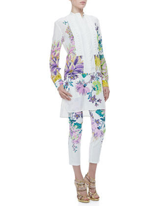 Button-Front Drop-Waist Floral-Print Tunic & Printed Five-Pocket Skinny Jeans