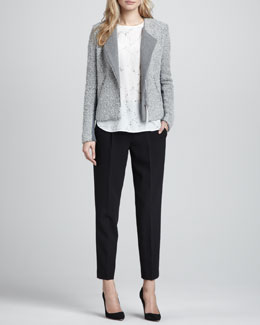 Rebecca Taylor Knit/Tweed Zip Jacket, Bead-Embellished Silk Top & Straight-Leg Cropped Trousers