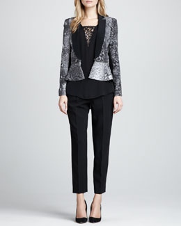 Rebecca Taylor Python-Print Zip Blazer, Lace-Inset Sleeveless Top & Structured Straight-Leg Cropped Trousers
