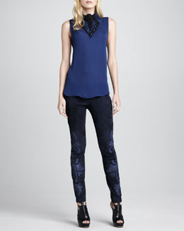 Haute Hippie Embellished Sleeveless Silk Blouse & Leather-Applique Suede Pants