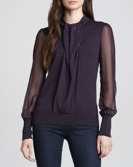 Tory Burch Abitha Knit/Silk Sweater & Denim Leggings