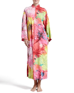 Natori Gala Satin Watercolor Zip Caftan