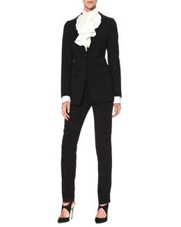 Armani Collezioni Two-Button Stretch Suiting Jacket & Ruffled Poplin Blouse