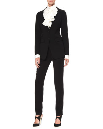 Two-Button Stretch Suiting Jacket & Ruffled Poplin Blouse