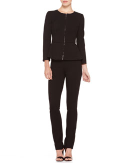Armani Collezioni Zip-Front Peplum Jacket & Full-Length Side-Zip Pants