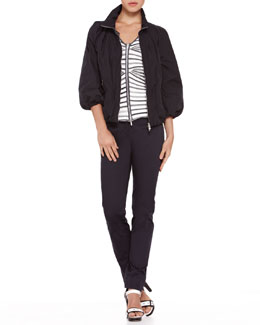 Armani Collezioni Jacket with Detachable Vest, Mix-Stripe V-Neck Zip Cardigan & Straight-Leg Stretch Cotton Pants