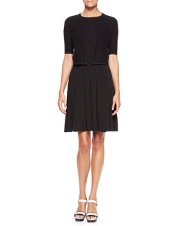 Armani Collezioni Short-Sleeve Knit Bolero & Boat-Neck Pleated Dress