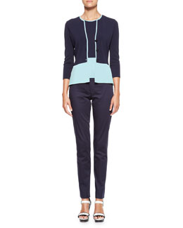 Armani Collezioni Colorblock 3-Button Jacket, Round-Neck Tank & Straight-Leg Stretch Cotton Pants