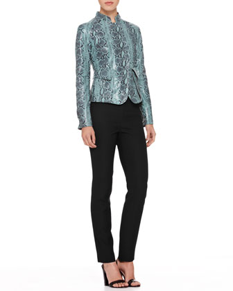 Snake-Print Leather Jacket & Straight-Leg Cady Pants