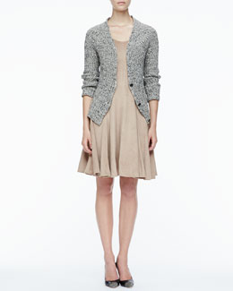 Halston Heritage Rib-Trim Knit Cardigan & Stretch Suede A-Line Dress
