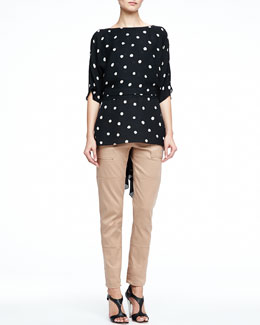 Halston Heritage Drape-Back Polka-Dot Top & Twill Tapered Cargo Pants