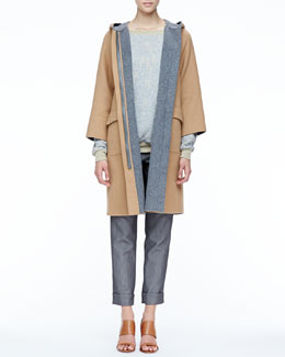 Halston Heritage Contrast-Trim Wool Coat, Loose Slub-Knit Sweater & Double-Waist Slim Cuffed Pants
