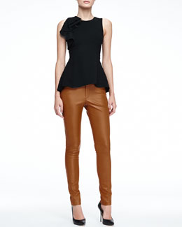Halston Heritage Sleeveless Peplum Top with Ruffle & Skinny Lambskin Leather Pants