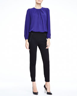 Halston Heritage Long-Sleeve Pleated Blouse & Soft Ponte Sweatpants