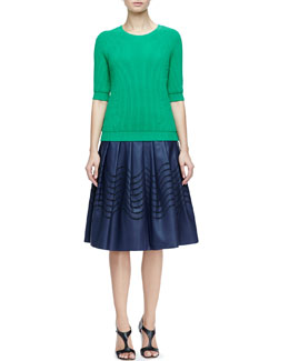 Halston Heritage Ribbed Crewneck Sweater & Cutout Faux-Leather Skirt