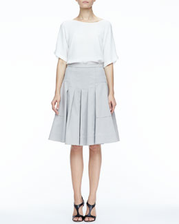 Halston Heritage Short-Sleeve Silk Boxy Top & Large-Pocket Pleated Twill Skirt
