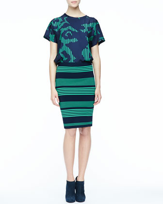 Printed Short-Sleeve Top & Striped Formfitting Pencil Skirt