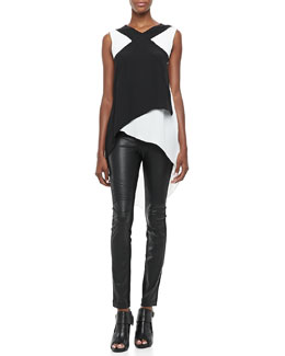 BCBGMAXAZRIA Veronika Two-Tone Layered Top & Faux-Leather/Ponte Leggings