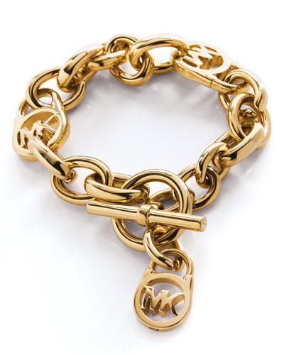 michael kors logo lock charm bracelet golden