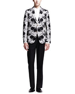 Alexander McQueen Rose Embroidered Cotton Jacket, Tuxedo Shirt with Faux-Vest & Wool/Mohair Trousers