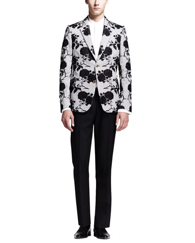 Rose Embroidered Cotton Jacket, Tuxedo Shirt with Faux-Vest & Wool/Mohair Trousers