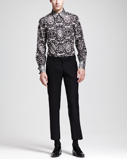 Alexander McQueen Lace-Skull-Print Dress Shirt & Wool/Mohair Trousers