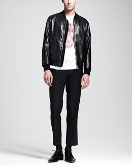 Alexander McQueen Skull-Embossed Leather Bomber Jacket, Lace-Skull-Print Tee & Wool/Mohair Trousers
