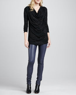 Alice + Olivia Spencer Shimmery Draped Top & Leather Zip-Front Leggings