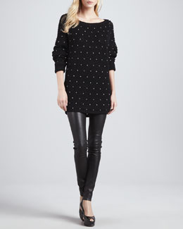 Alice + Olivia Vince Pearl-Bead Sweater & Leather Leggings