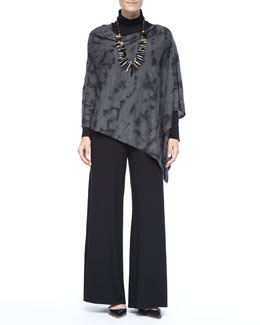 Eileen Fisher Royal Alpaca Poncho, Long-Sleeve Top &  Wide-Leg Pants