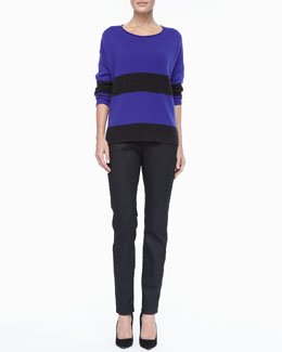 Eileen Fisher Wide-Striped Sweater Top & Waxed Stretch Skinny Jeans