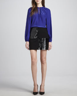 Alice & Trixie Greta Long-Sleeve Blouse & Dana Leather/Ponte Miniskirt