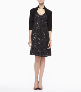 Eileen Fisher Merino Wool Jersey Shrug & Sparkle V-Neck Dress